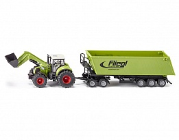Трактор Claas Axion 850 с преден товарач и ремарке