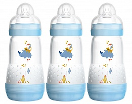 Шише Easy S. Anti-Colic Bottle 260 ml 3бр сини